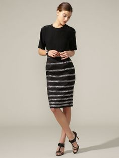 Naeem Khan | Silk Beaded Stripe Skirt