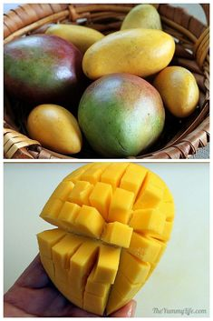 How to Peel and Cut A Mango into Cubes & Slices. http://www.theyummylife.com/how_to_peel_and_cut_a_mango