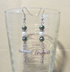 Green & White Pearl Dangle Earrings w/ Large by Pizzelwaddels, $13.97