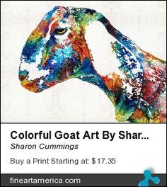 """Colorful Goat"" New Mixed Media Art Painting Sharon Cummings 2014"