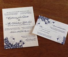 Bilingual wedding invitations in our Rana design with a navy ink.  Romantic and classic.  | Invitations by Ajalon | invitationsbyajalon.com