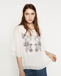 Image 1 of TOP WITH EMBROIDERY DETAIL from Zara