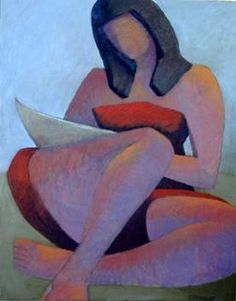 Chris Fendley, March after Avery, 2005, oil on canvas, depicts abstracted figure using as the model, Milton Avery's figure of his daughter March, reading.      ...