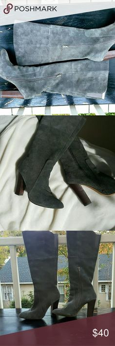 """Cynthia Rowley Gray Suede Boots Worn 2x, perfect condition camel suede boots, classic, 4.25"""" stacked heel Partial side zip 15.25"""" shaft Lightly padded footbed. 16"""" circumference at the top. Elastic gore for a little added room at the top.  ****HAVE SAME BOOT IN CAMEL, BUY ONE PAIR GET THE OTHER HALF OFF***** Cynthia Rowley Shoes Heeled Boots"""