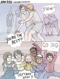 Steve Harrington and his kids - Stranger Things artwork by Adam00rose.