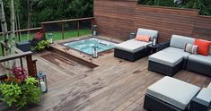 Awesome Outdoor Jacuzzi Ideas for a Relaxing Weekend. With the flow of warm water and bursts of water that create bubbles, soaking in the outdoor Jacuzzi to relax and relieve stress. So you re-energize an. Hot Tub Garden, Hot Tub Backyard, Backyard Patio, Backyard Ideas, Patio Deck Designs, Patio Design, Landscaping Design, Whirlpool Deck, Sunken Hot Tub