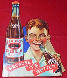 Big Boy Cola Cardboard Counter Display Advertising Sign - Soda - Vintage - RARE   eBay Display Advertising, Advertising Signs, Counter Display, General Store, Big Boys, Coca Cola, Soda, Vintage, Ebay