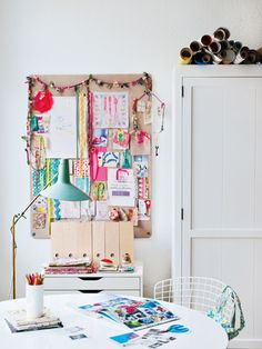 Holly Becker's craft room corner, from Decorate Workshop, http://www.sheknows.com/home-and-gardening/articles/978493/holly-beckers-fave-2012-decor-trends