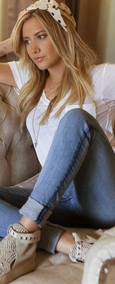 Ashley Tisdale, blue jeans, polka dot print headbag, studded suede boots, and white pocket tee