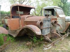 "Old Ford and Chevrolet pickups from the '20s, '30s and '40s at ""Desarmadero El Nene"" (junkyard The Child) in Argentina"