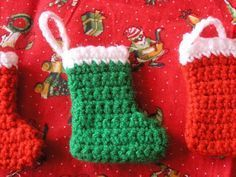 The Striped Deckchair: Crochet pattern for a mini Christmas stocking decoration ~ might be my fave Oct 2017 Christmas Stocking Decorations, Mini Christmas Stockings, Mini Stockings, Crochet Christmas Ornaments, Christmas Crochet Patterns, Holiday Crochet, Crochet Stocking, Stocking Pattern, Crochet Gifts
