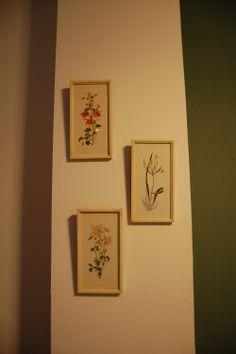 3 oude witte schilderijtjes met bloemen #vintage