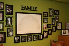 This is the genealogy chart surrounded by photos of family (ancestors and living).