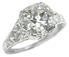 Old mine cut diamond ring 3.72ct I-J VS1