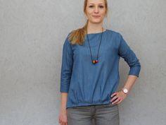 FrauNINA - lässige Bluse mit Saumfalten und 2 Ärmellängen - Schnittmuster und Nähanleitungen bei Makerist - 6.50euro