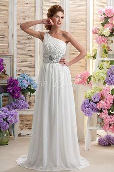 Simple One-shoulder Floor-length Beaded Plus Size Wedding Dress