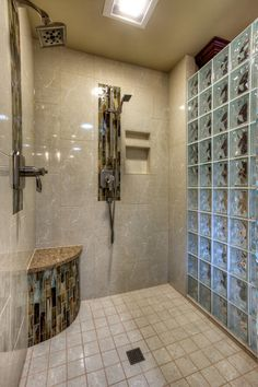 Colored Glass Block Shower | traditional bathroom by Riddle Construction and Design