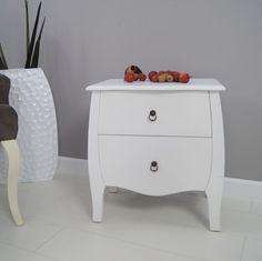 Komoda z dwiema szufladami, stolik nocny, kolor biały. | Kolory \ Biały Meble \ Komody Komódki Style Serie \ Styl romantyczny Wszystkie produkty Style Serie \ Styl azjatycki | Impresje24.pl