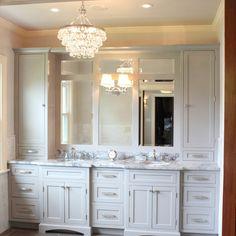 Ziegle Avenue Master Bath & Closet - Custom, luxurious master bathroom.  Gray painted inset cabinets by dura supreme, super white quartzite countertop