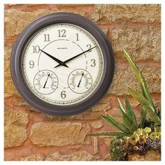 18 Outdoor / Indoor Wall Clock with Thermometer and Humidity - Weathered Finish - Acurite, Brown