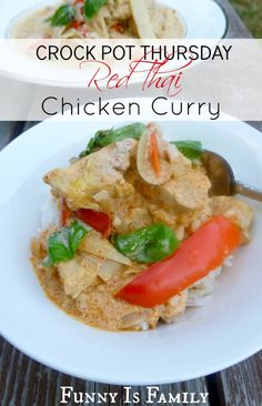 Crock Pot Red Thai Chicken Curry from @FunnyIsFamily. Yum! #slowcooker