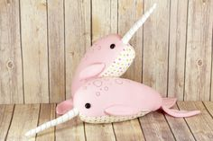 Narwhal soft sculpture, Narwhal Plush Toy, Handmade Narwhal Stuffed Toy, Narwhal Soft Toy, Embroidered Narwhal - READY TO SHIP