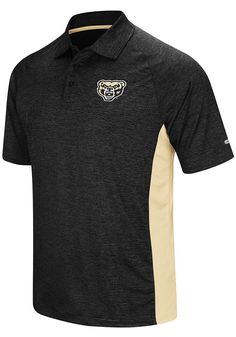 best sneakers 83859 6dfad Colosseum Oakland University Golden Grizzlies Mens Black Wedge Short Sleeve  Polo