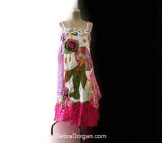 Embroidered Geisha Dress, Boho Dress, Vintage Textiles, Lantern, Parasol, Silk, Linen, Paisley, Hot Pink, Lace, Bohemian, Rainbow, Boho on Etsy, $495.00