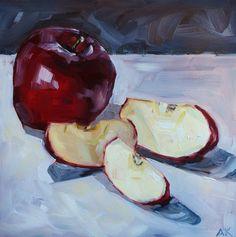 Still Life Fruit Painting - Original Oil - Sliced Red Apple - 8 x 8