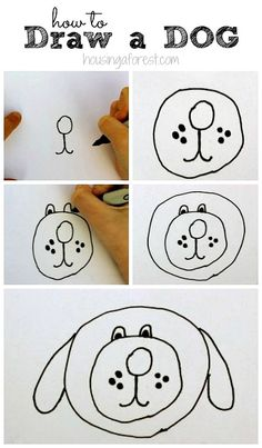 How to Draw Dogs - Draw A Dog In 6 Easy Steps- Easy Step by Step Drawing Tutorial - Learn How To Draw A Dog and Cute Puppies - Cartoon and Realistic Animals Drawing Lessons For Kids, Easy Drawings For Kids, Cool Drawings, Art Lessons, Art For Kids, Dog Drawing For Kids, Hipster Drawings, Dog Drawing Tutorial, Drawing Tutorials