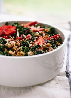 Lemony strawberry and kale salad with savory granola croutons - cookieandkate.com