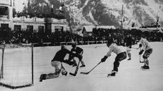 National teams from Canada and the U.S. play an ice hockey match at the Winter Olympic Games at Chamonix, France in 1924. (Topical Press Agency/Getty Images)