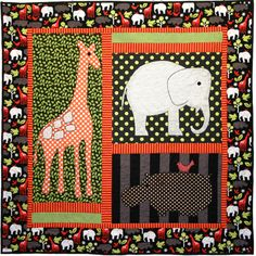 Free pattern:  Giraffes, Elephants and hippos by Marinda Stewart for Michael Miller Fabrics