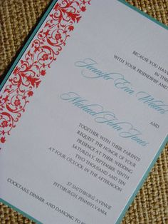 Wedding, Red, Invitations, And, Turquoise, Stationery, Jessicas design shop