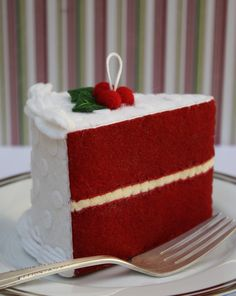 Felt Red Velvet Cake Slice Ornament by ViviansKitchen on Etsy, $34.00