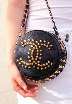 Round Bag - Black - Vegan Leather - Golden Chain Strap Rock Rivets Spiked Bolt Stud Logo Shoulder Bag Purse Handbag - Women - Handmade $12.98