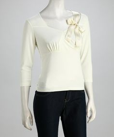 Love this Cream Ribbon Long-Sleeve Top by Shu Shu on #zulily! #zulilyfinds