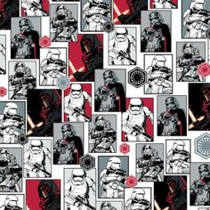 Star Wars™ The Force Awakens: The Dark Side Fabric- Kylo Ren, Captain Phasma, stormtroopers, snowtroopers and flametroopers are a dark presence in this Star Wars quilt fabric by Camelot Fabrics. Star Wars Quilt, Star Wars Fabric, Fabric Stars, Star Wars Characters, Star Wars Episodes, The Dark Side, Knights Of Ren, Disney Fabric, Star Wars Film