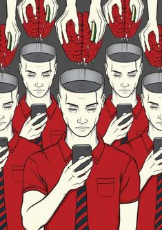 Illustrations That Take a Tongue-in-cheek Look at Technology Addiction in Today's Society pics) Banksy, Satire, Pop Art, Technology Addiction, Illustrator, Street Art, Satirical Illustrations, Satirical Cartoons, Psychedelic Art