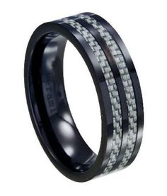 Mens Black Ceramic Wedding Ring with Grey Carbon Fiber Inlay Men's Jewelry Store, Keep Jewelry, Black Titanium Wedding Bands, Wedding Ring Bands, Affordable Rings, Discount Jewelry, Ceramic Jewelry, Fashion Rings, Rings For Men