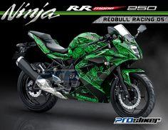 Kawasaki Ninja RR Mono 250cc Warna Hijau Modifikasi Decal Motif REDBULL RACING 05 Hijau Prostiker