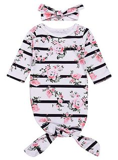c15286e0647b Mini honey Newborn Baby Girls Long Sleeve Sleepy Floral Striped Gown  Headband Sleepwear Romper Sleeping Bags