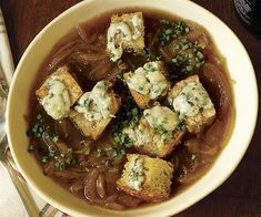 Onion and Ale Soup with Blue Cheese Croutons - but not Blue Cheese.  Probably Gruyere.