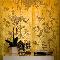 de Gournay Chinoiserie Collection: Portobello design in full custom monochromatic colours on 22 carat gold gilded silk.
