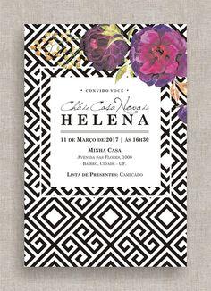 Convite Digital Chá Panela/Lingerie 12 - Para seu Chá de Panela, Lingerie, Casa Nova e até para seu Aniversário! Moderno, alegre, geométrico, preto e branco, flores, clean, elegante, aniversário, chá.