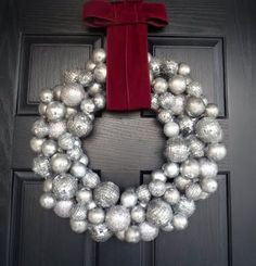Ornament wreath for the holidays. A must this year and since our door is black, I know how great it will look on it.