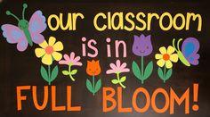 Garden Bulletin Boards, Toddler Bulletin Boards, Flower Bulletin Boards, Summer Bulletin Boards, Back To School Bulletin Boards, Classroom Bulletin Boards, Classroom Crafts, Classroom Door, Boarders For Bulletin Boards