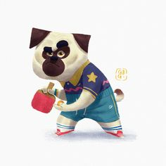 Ping Pong Pug by Gop Gap on ArtStation.