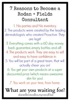 Are you on the fence, thinking about doing some kind of direct sales? Are you looking for a way to make a little extra income (or a lot) doing something flexible from home? Do you want great skin, and do you love products that actually work? Then, give me a call, Rodan + Fields might be a great fit for you!