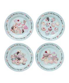 Look what I found on #zulily! Cupcakes & Cookies Dessert Plate Set #zulilyfinds